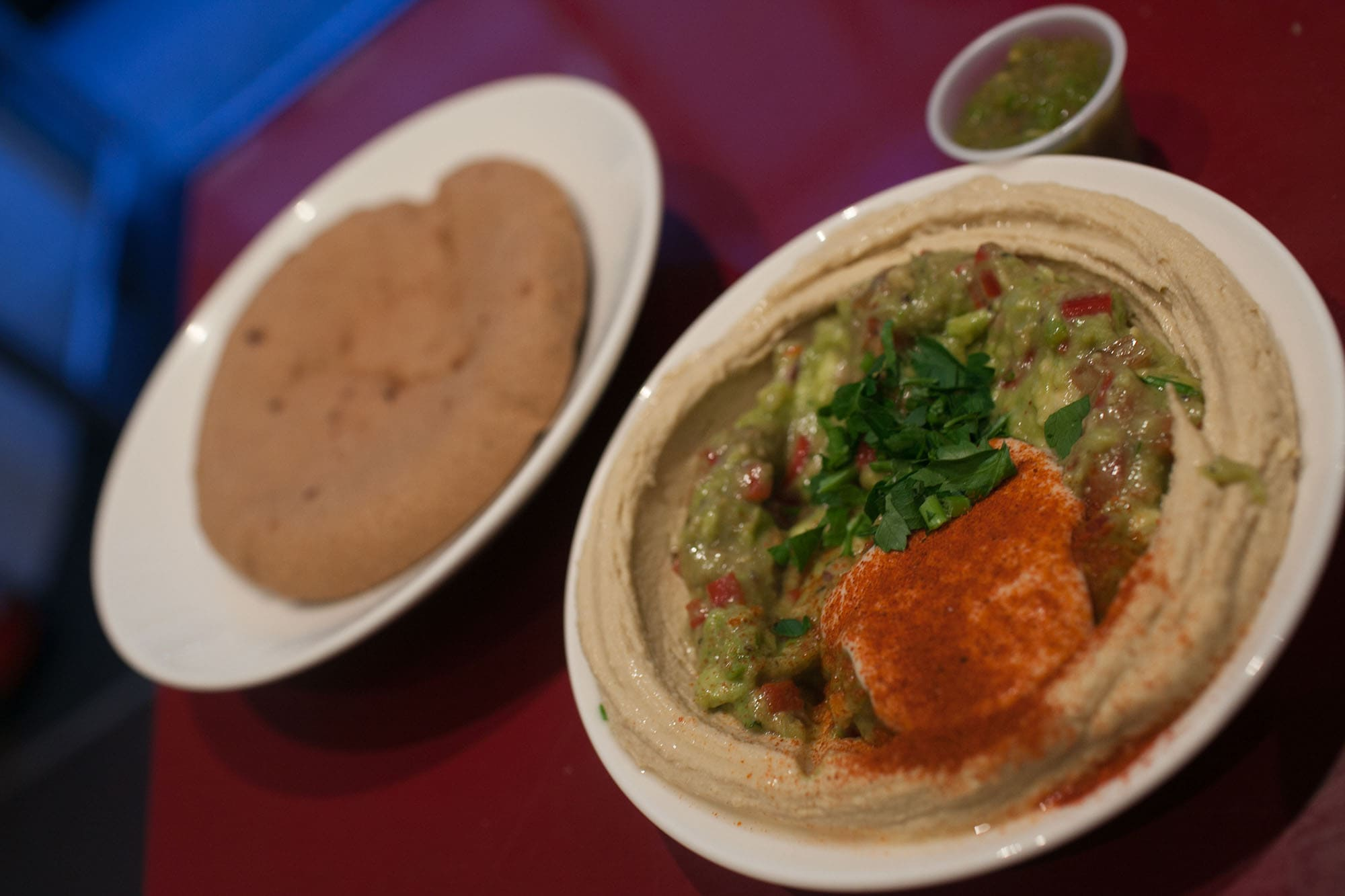 Hummus with guacamole at Hummus Brothers in Soho, London, England