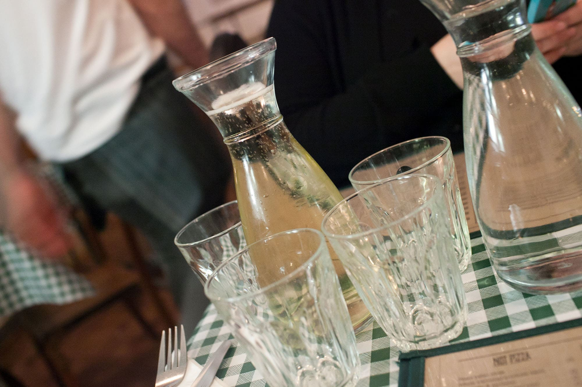 Carafe of white wine at Pizza Pilgrims in Soho, London, England
