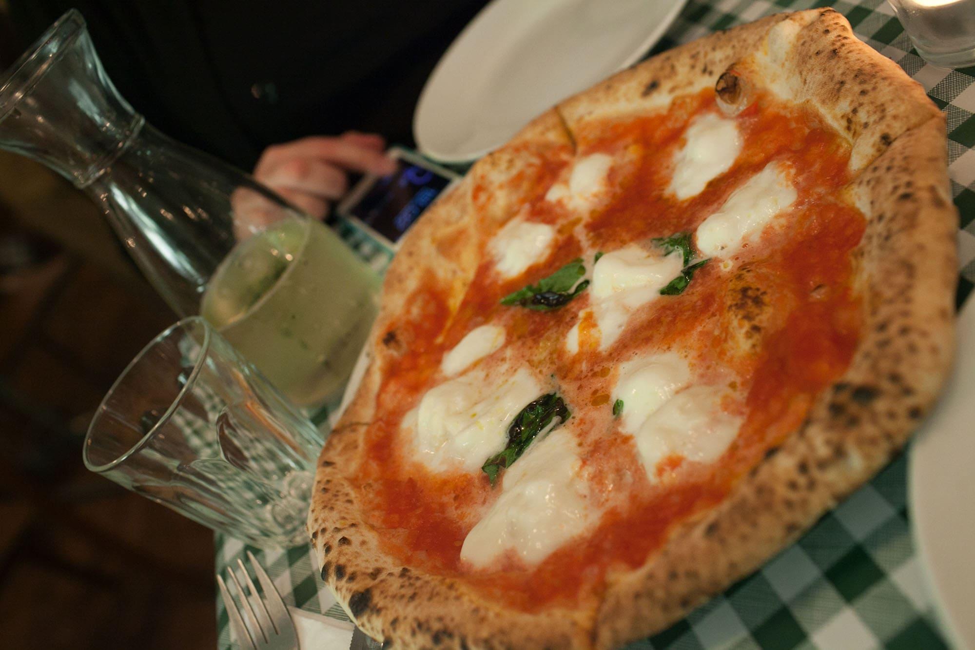 Bufala pizza at Pizza Pilgrims in Soho, London, England