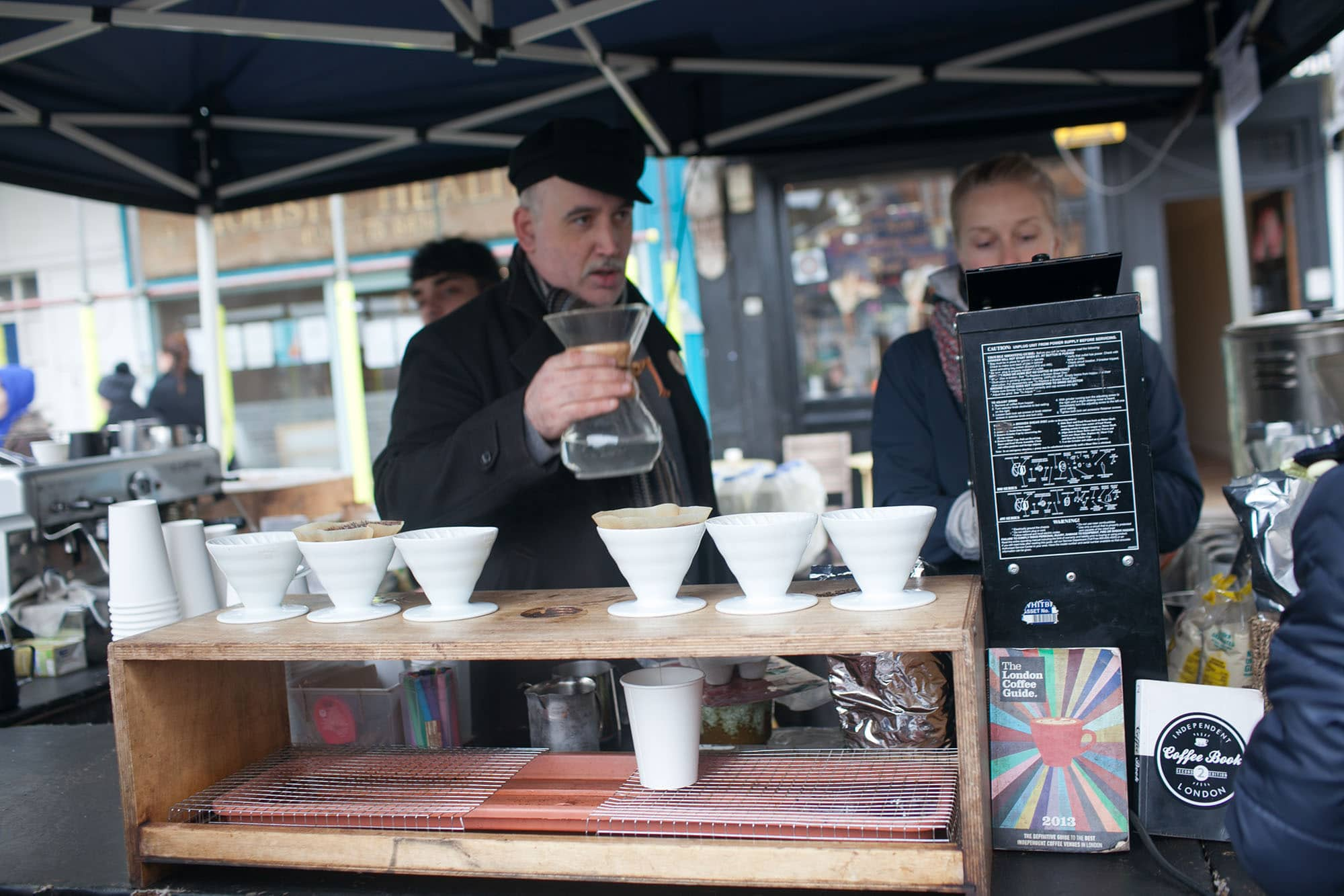 Coffee at Broadway Market in London, England