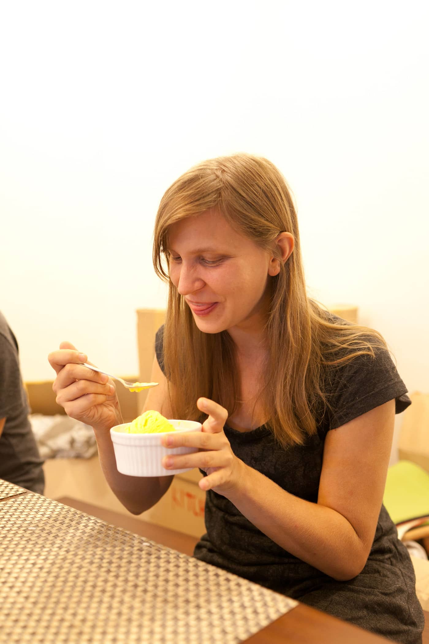 Val eating cheese ice cream in the Philippines.