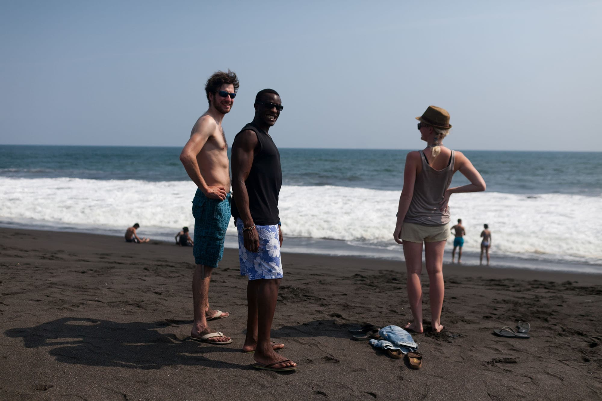 Black sand beach at Monterrico Beach in Guatemala