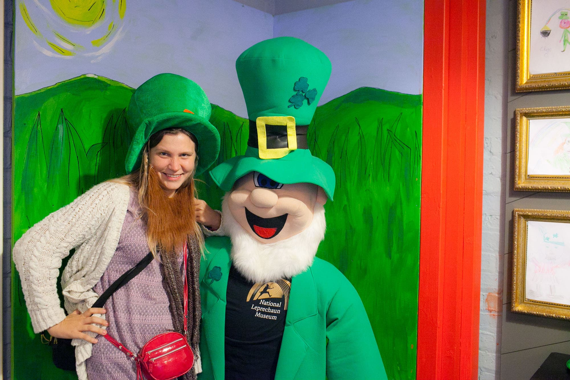 With a leprechaun at the National Leprechaun Museum in Dublin, Ireland