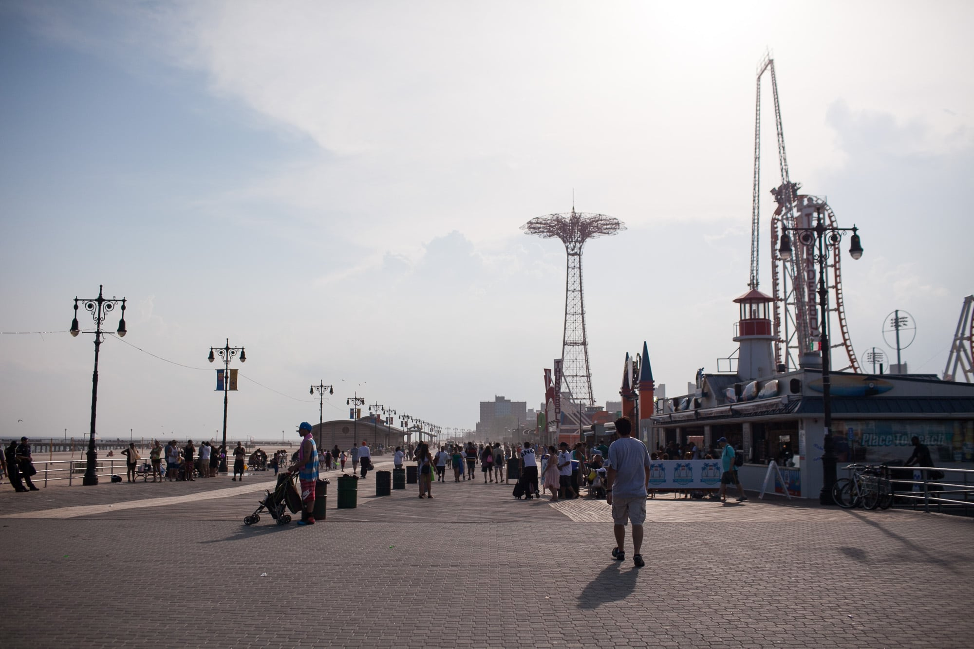 Boardwalk in Coney Island, New York.