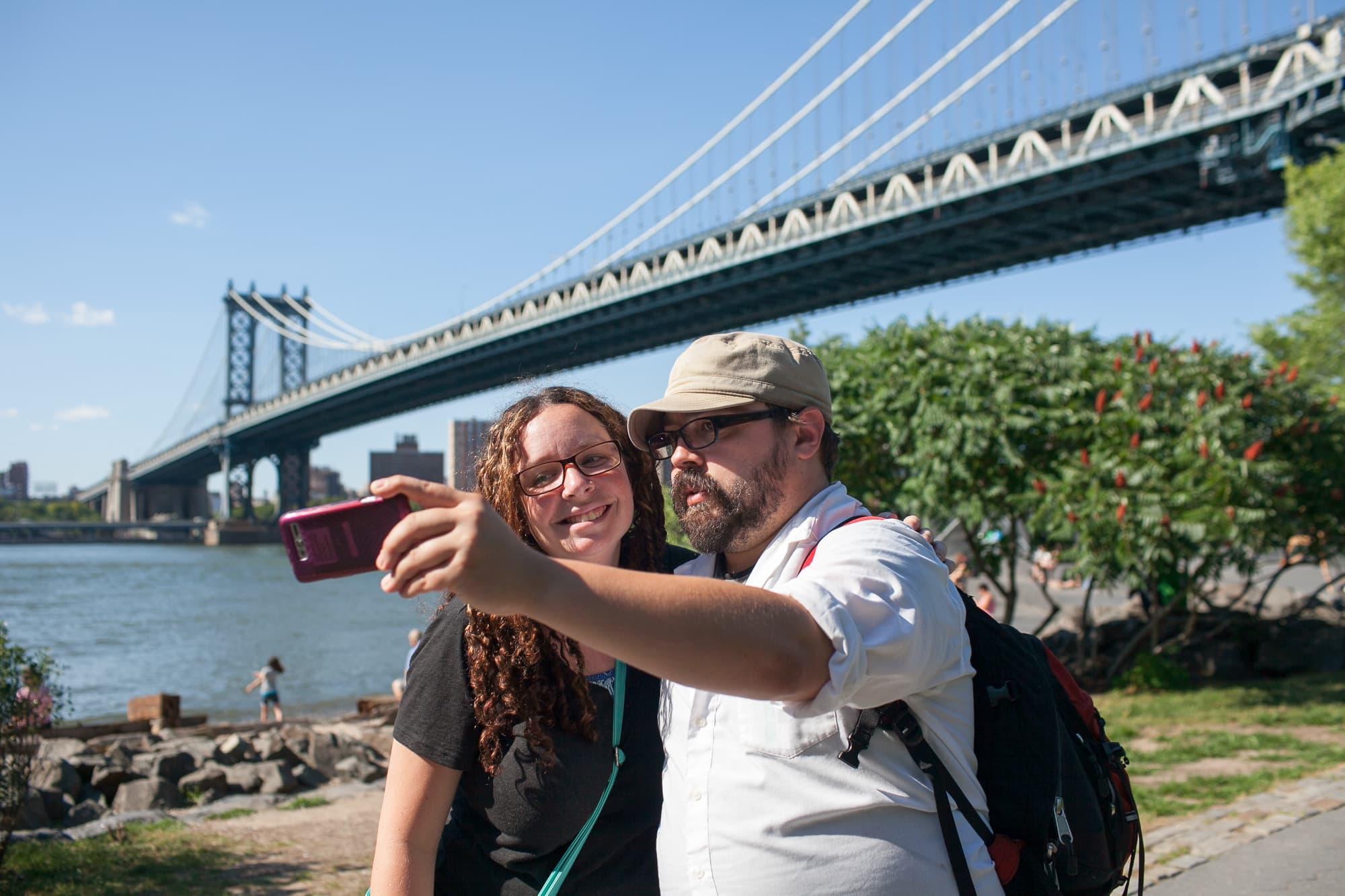 Photo in front of the Manhattan Bridge
