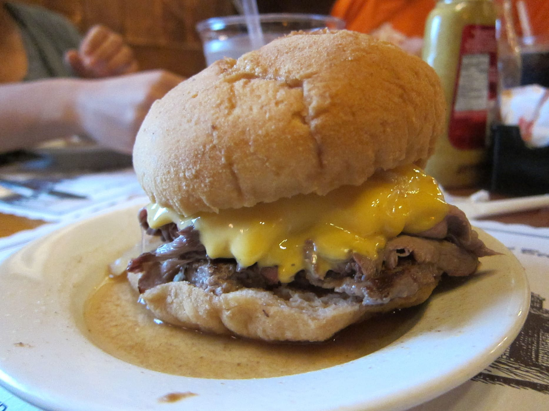 Gargiulo Burger at Brennan and Carr, as seen on Man vs. Food: a hamburger topped with roast beef.