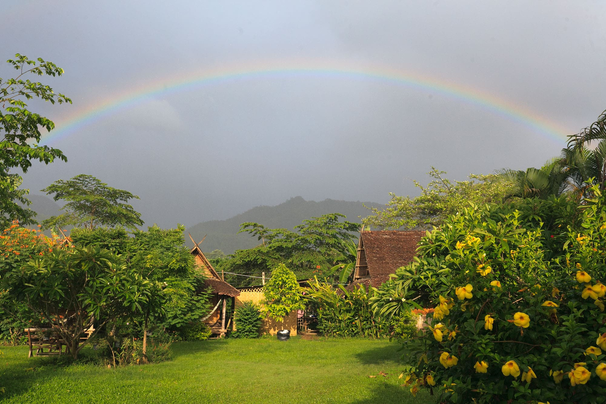 rainbow in Pai, Thailand.
