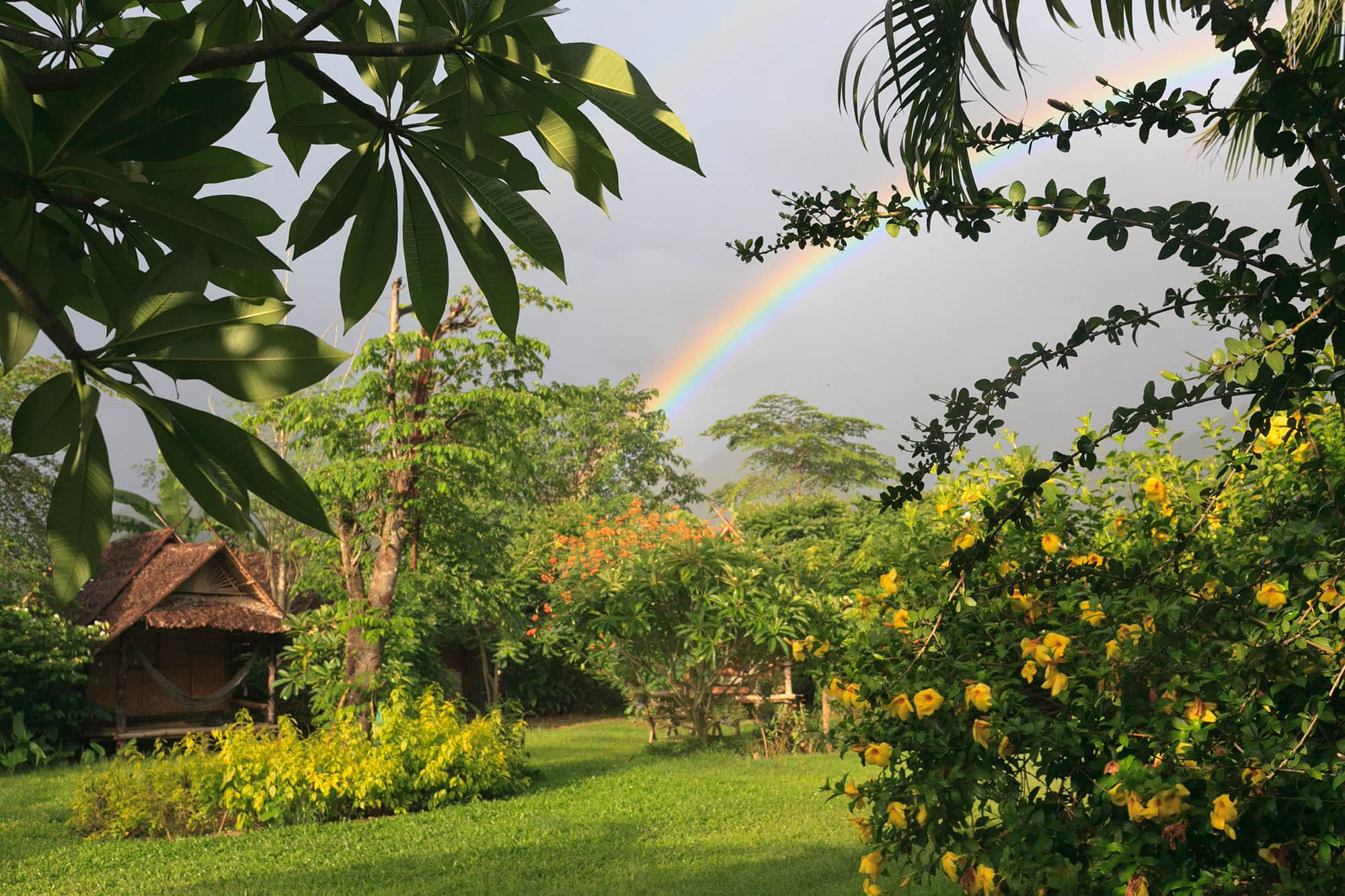 Rainbow from my bungalow in Pai, Thailand