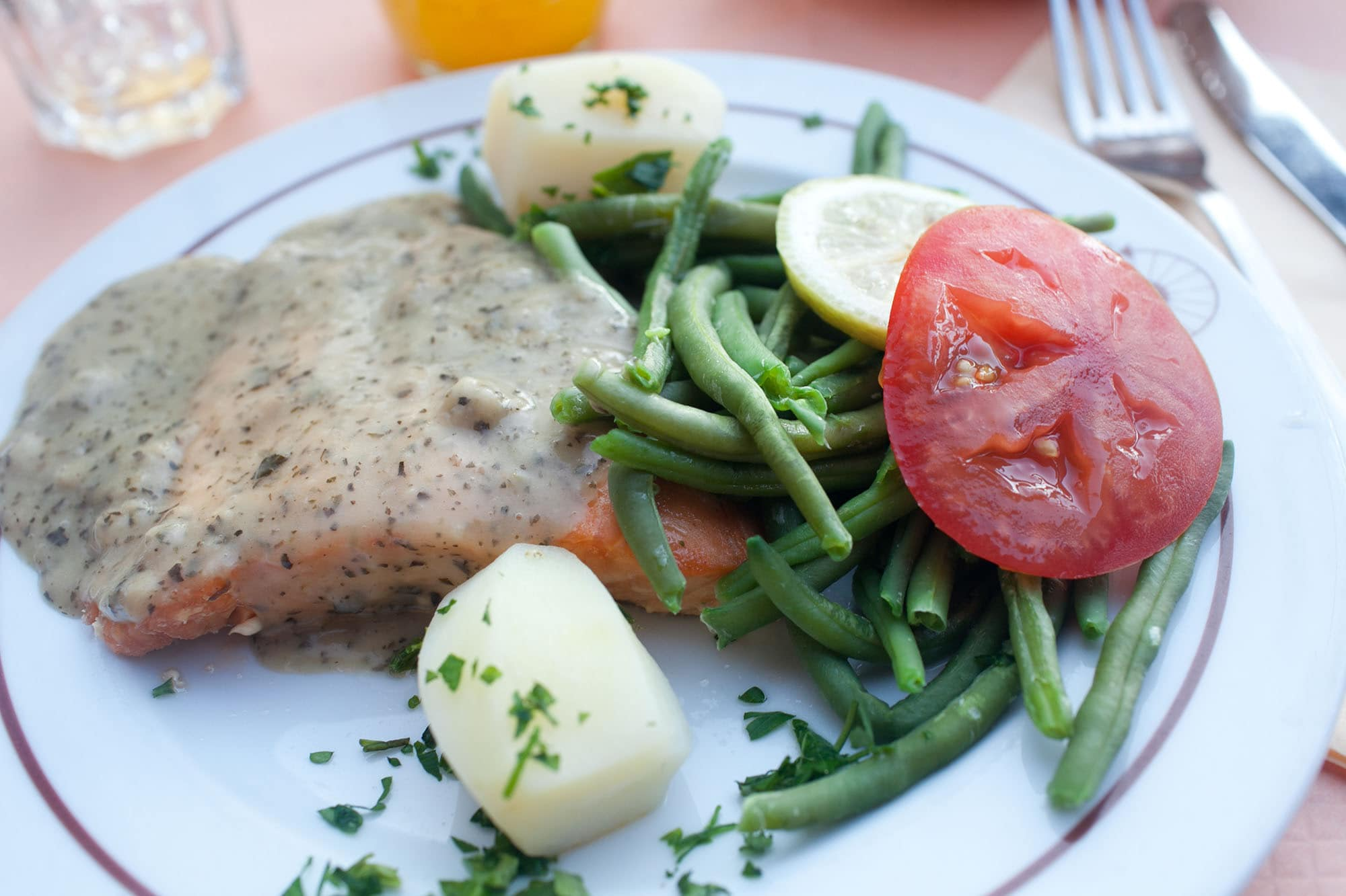 Salmon with basil sauce in Paris