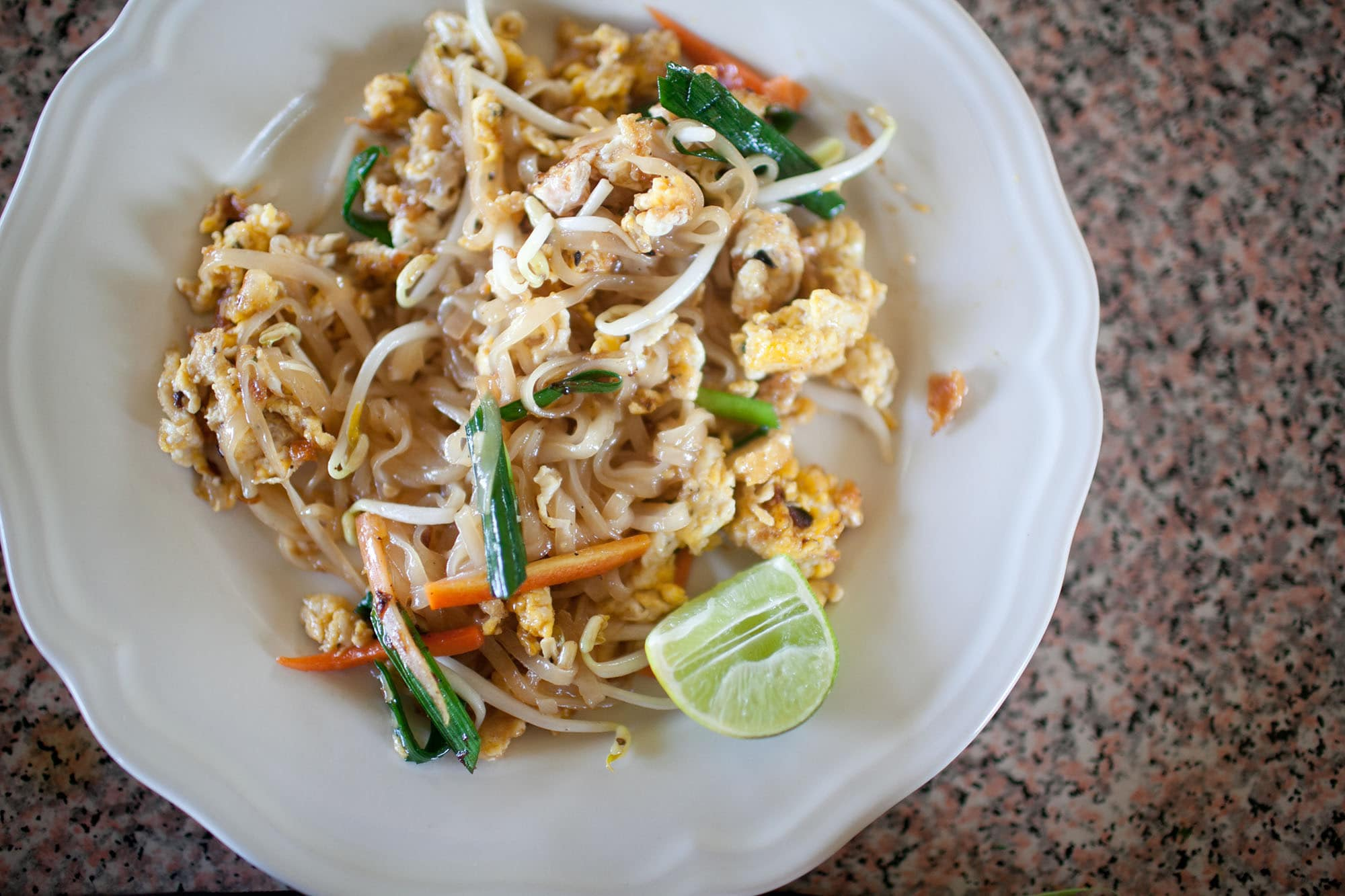 Making Phad Thai at Sammy's Organic Thai Cooking School in Chiang Mai, Thailand.