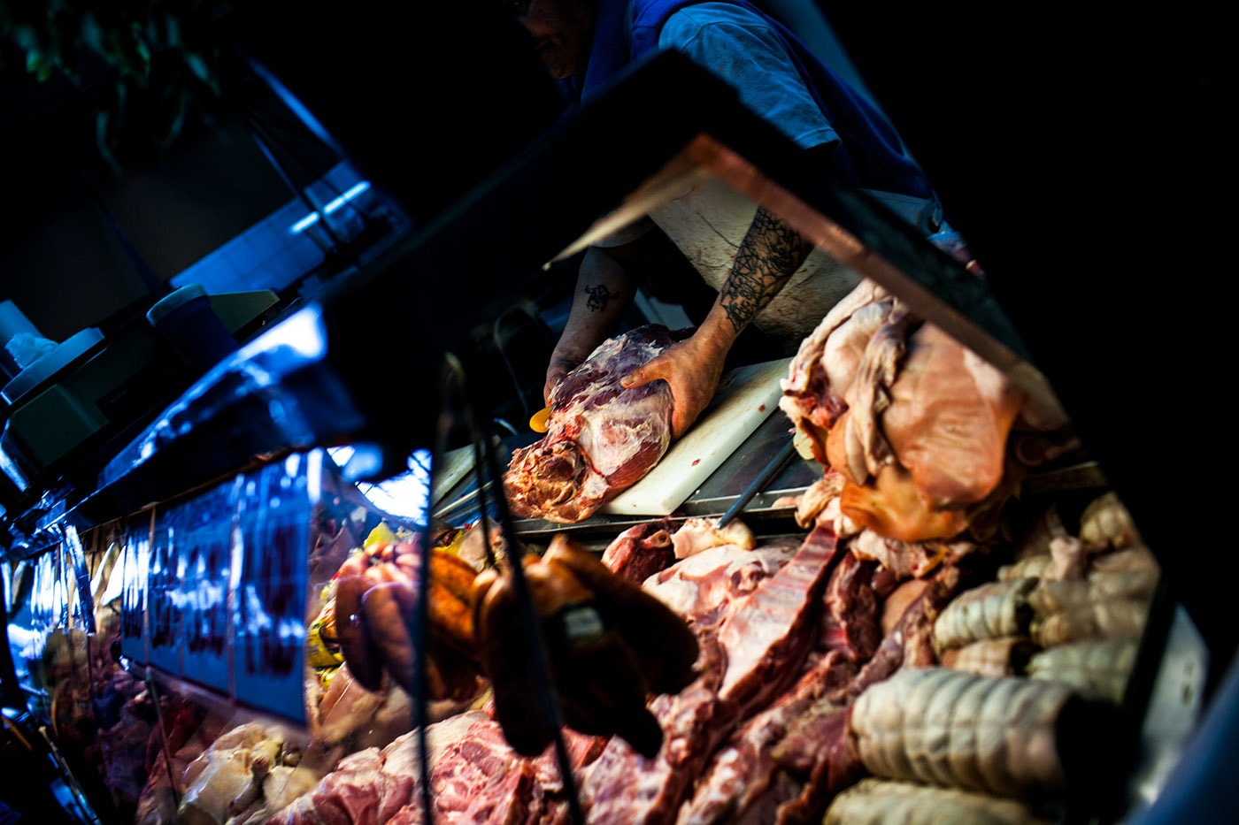 Meat market in Santiago, Chile