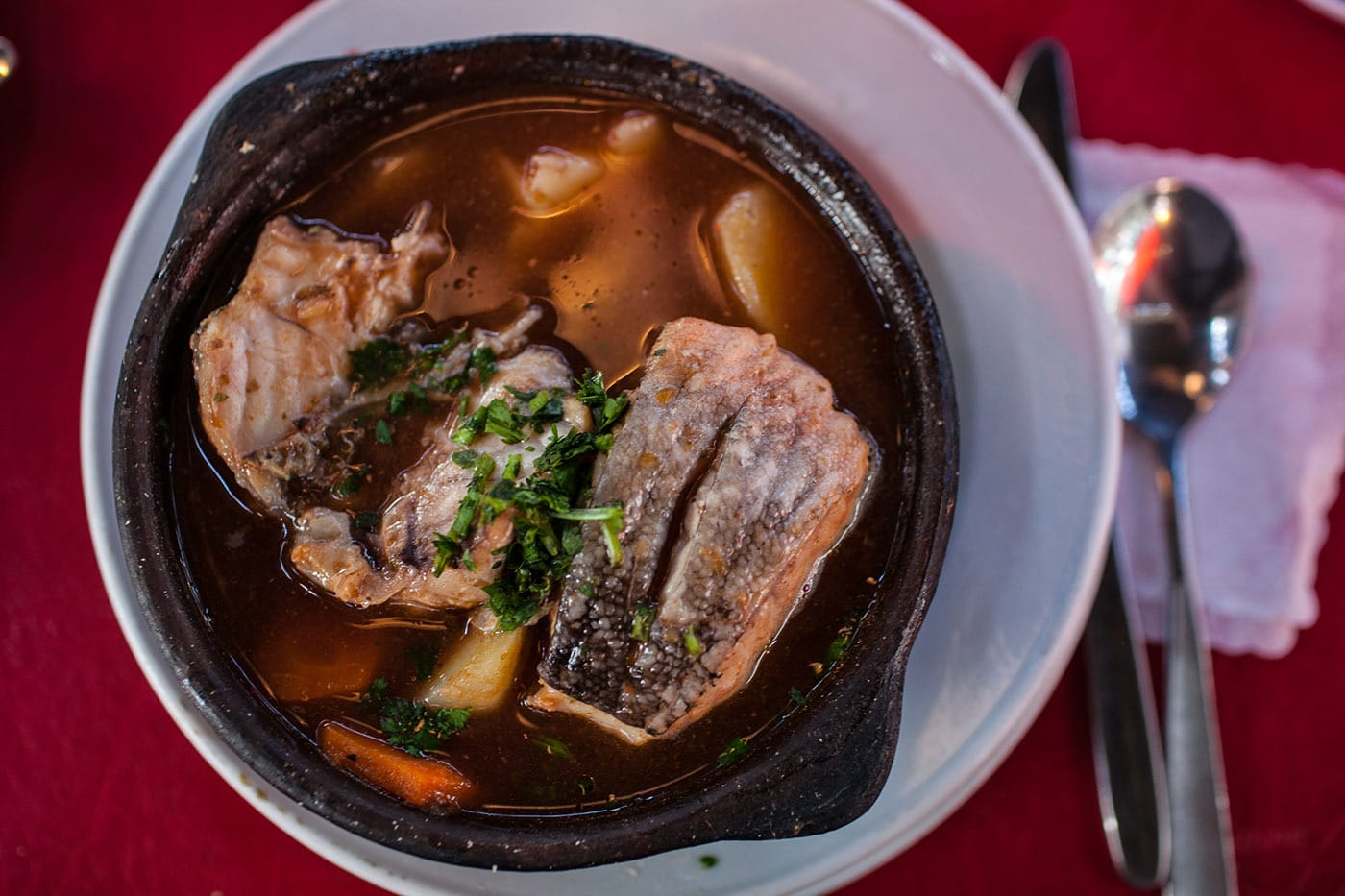 Caldillo De Congrio - eel soup in Santiago, Chile