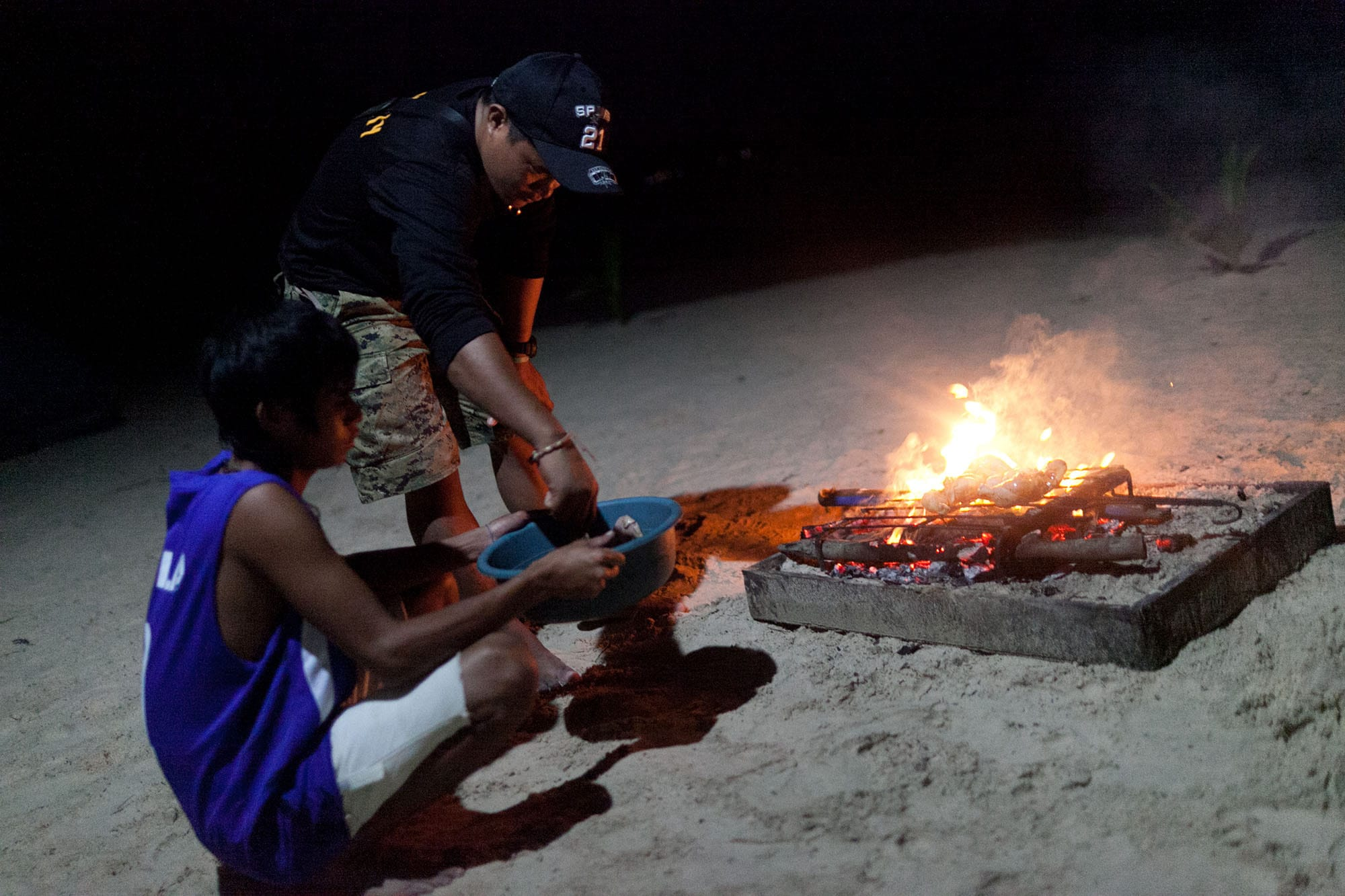 Camping on Seven Commandos Beach in Palawan, Philippines.