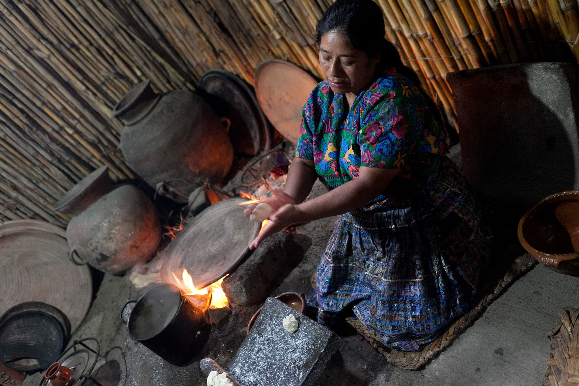 Tortilla making demonstration in Antigua, Guatemala.