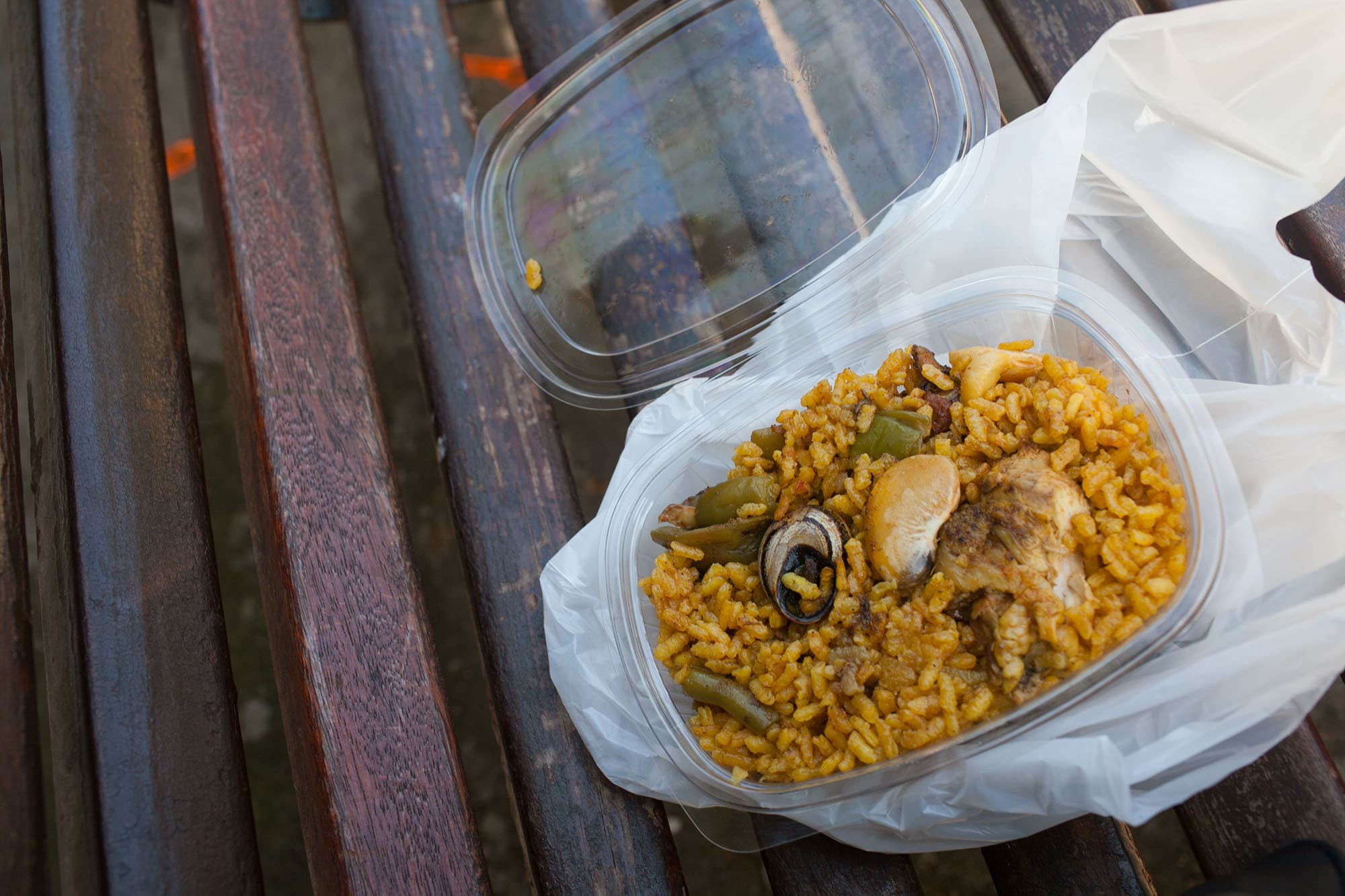 Take out paella in Valencia, Spain.