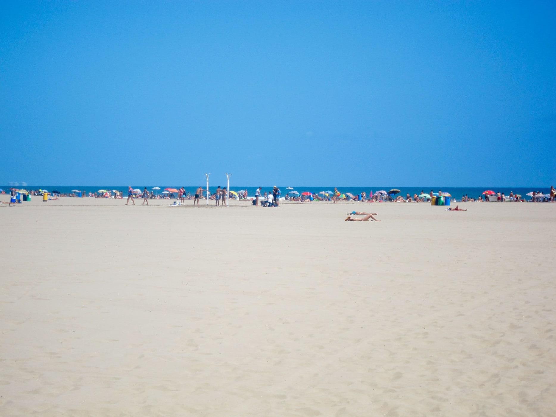 Beach bum in Valencia, Spain.