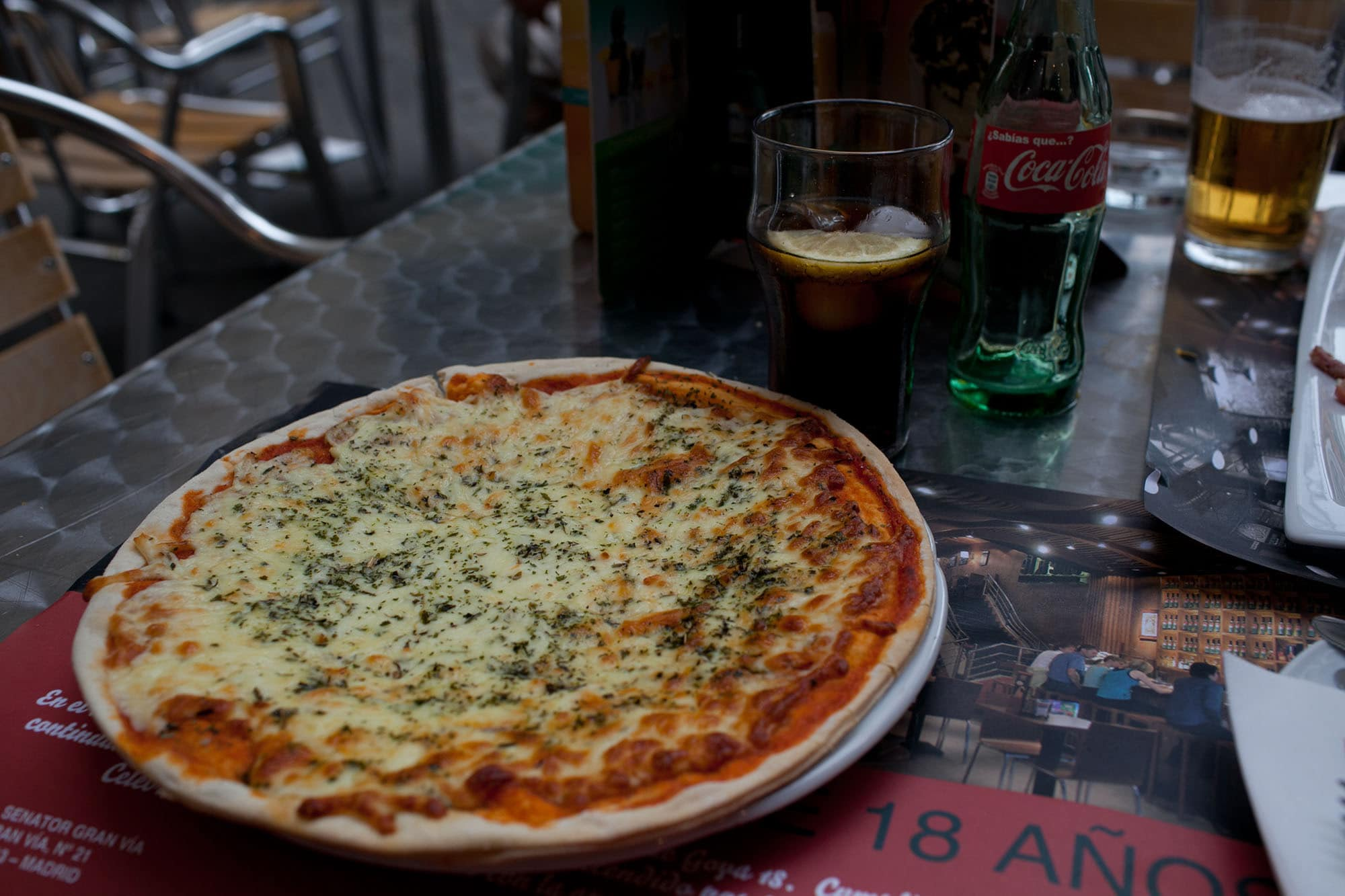 Pizza for lunch in Valencia, Spain.