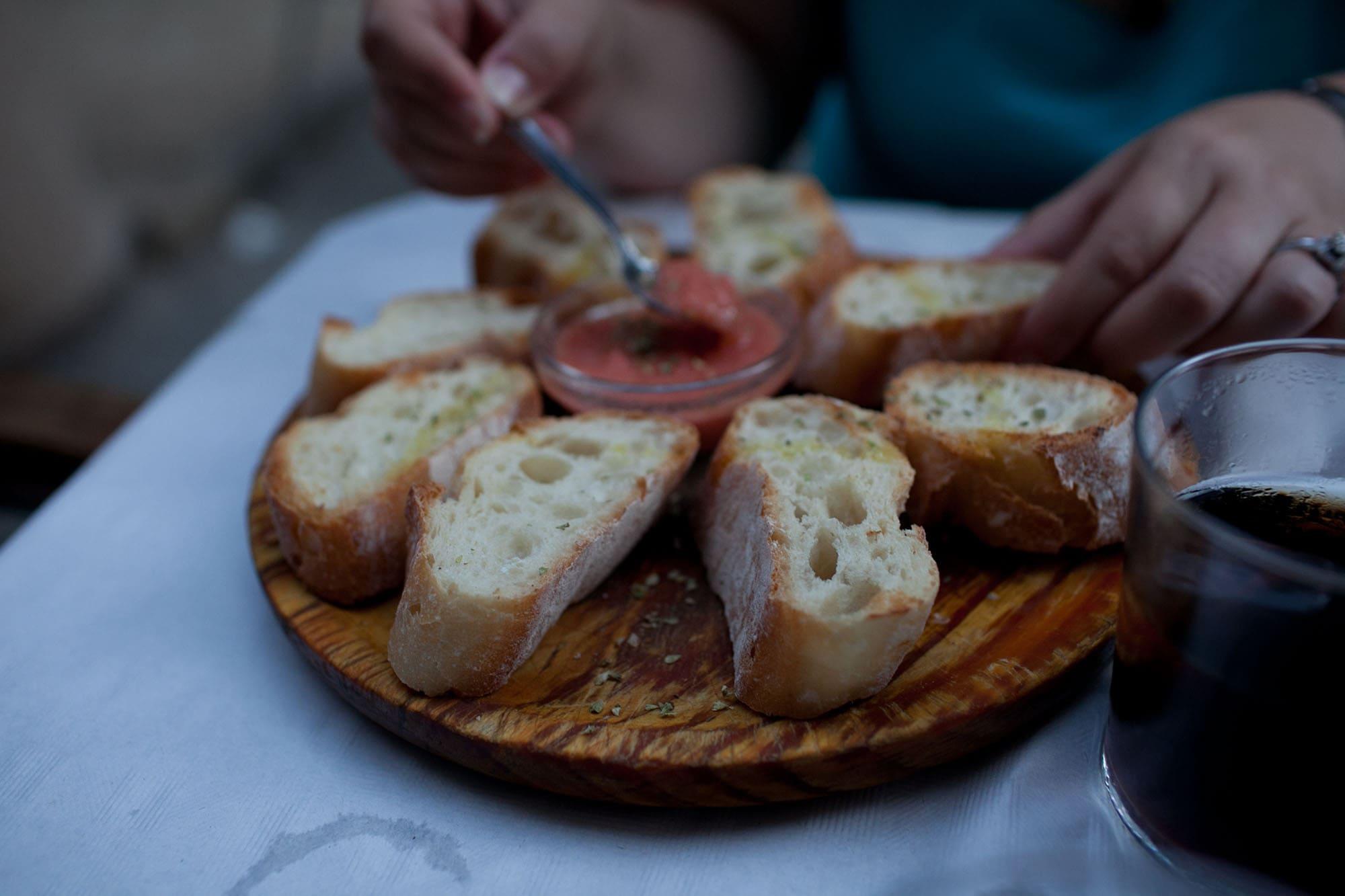 Bread and tomato sauce in Valencia, Spain.
