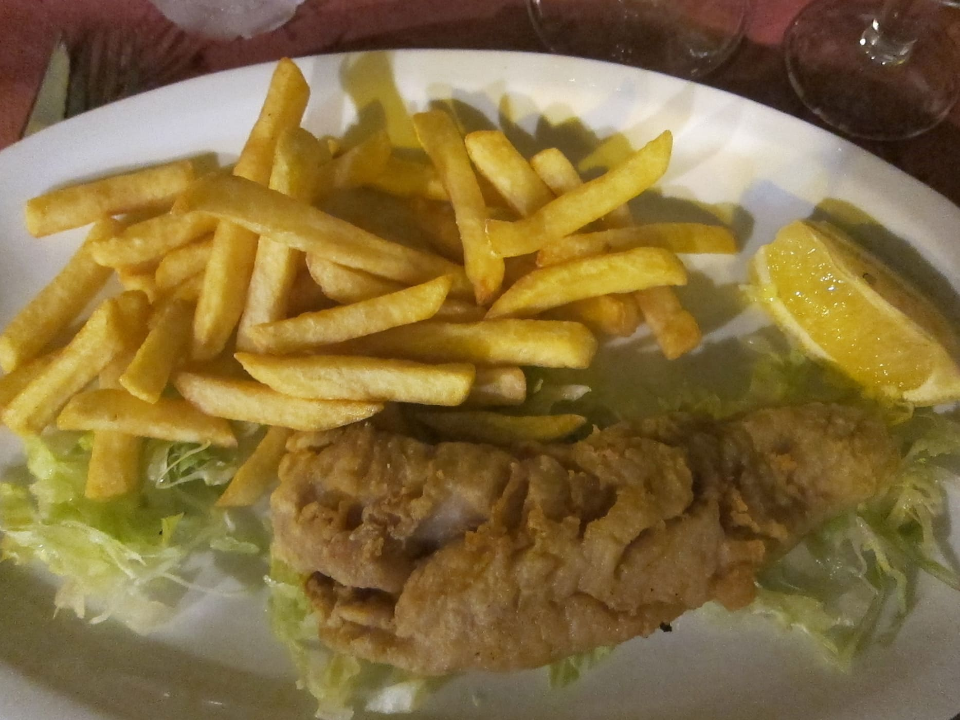 Fried white fish in Valencia, Spain