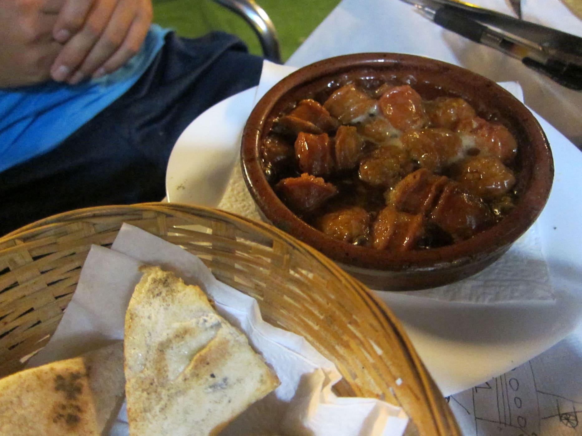 Chorizo tapas in Valencia, Spain.