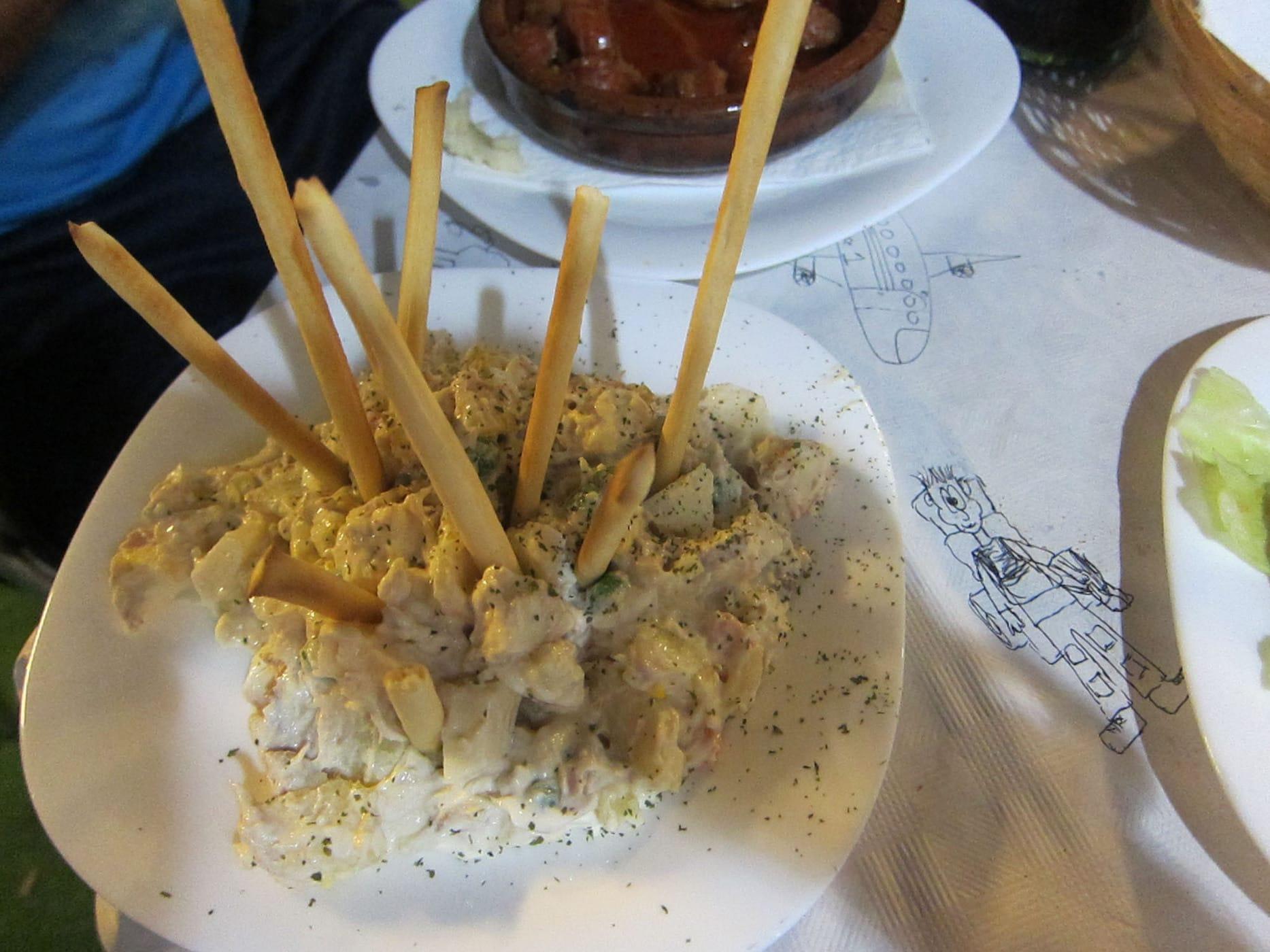 Russian salad tapas in Valencia, Spain.