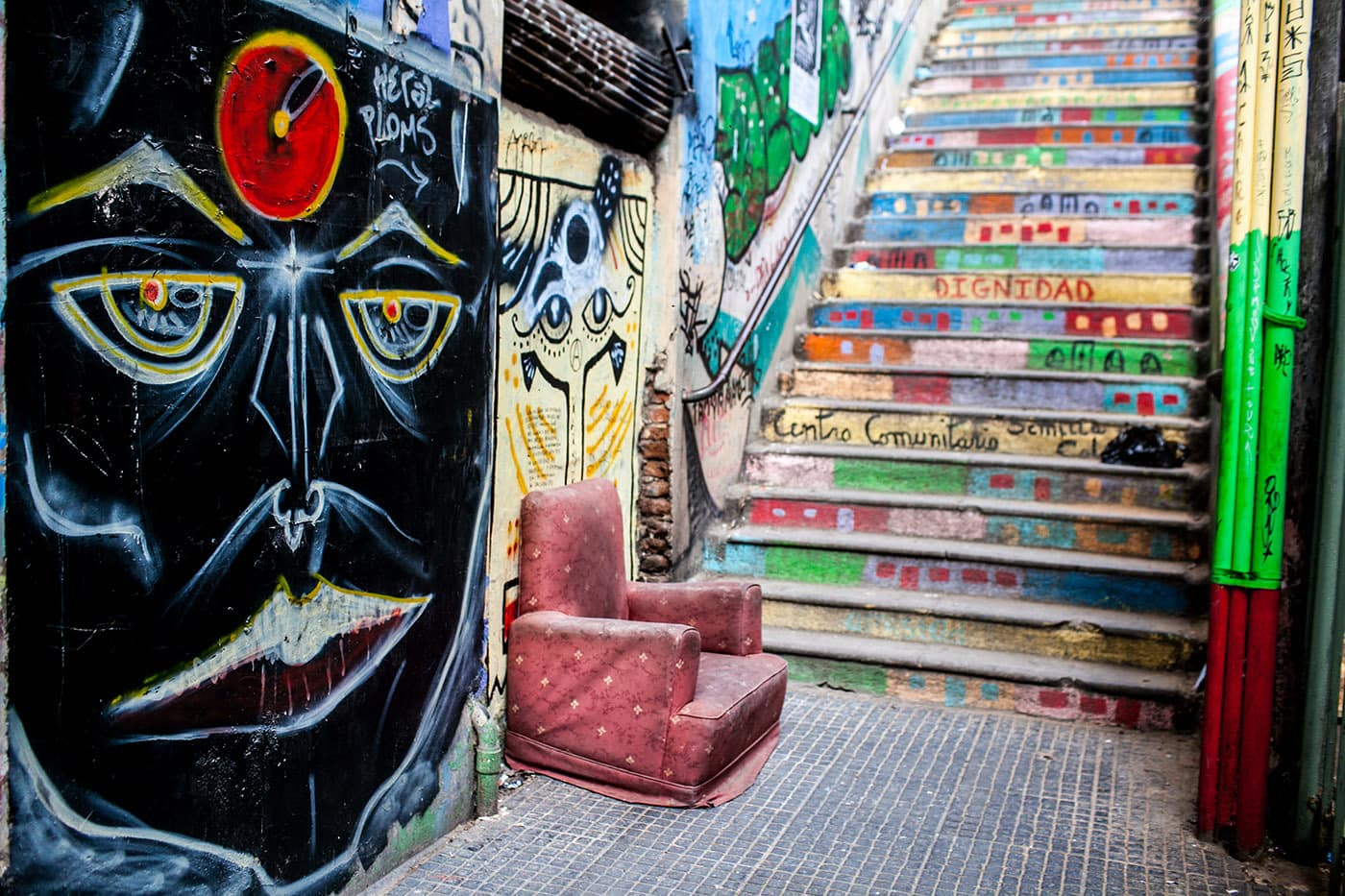Best Street Art in Valparaiso, Chile - colorfully painted steps