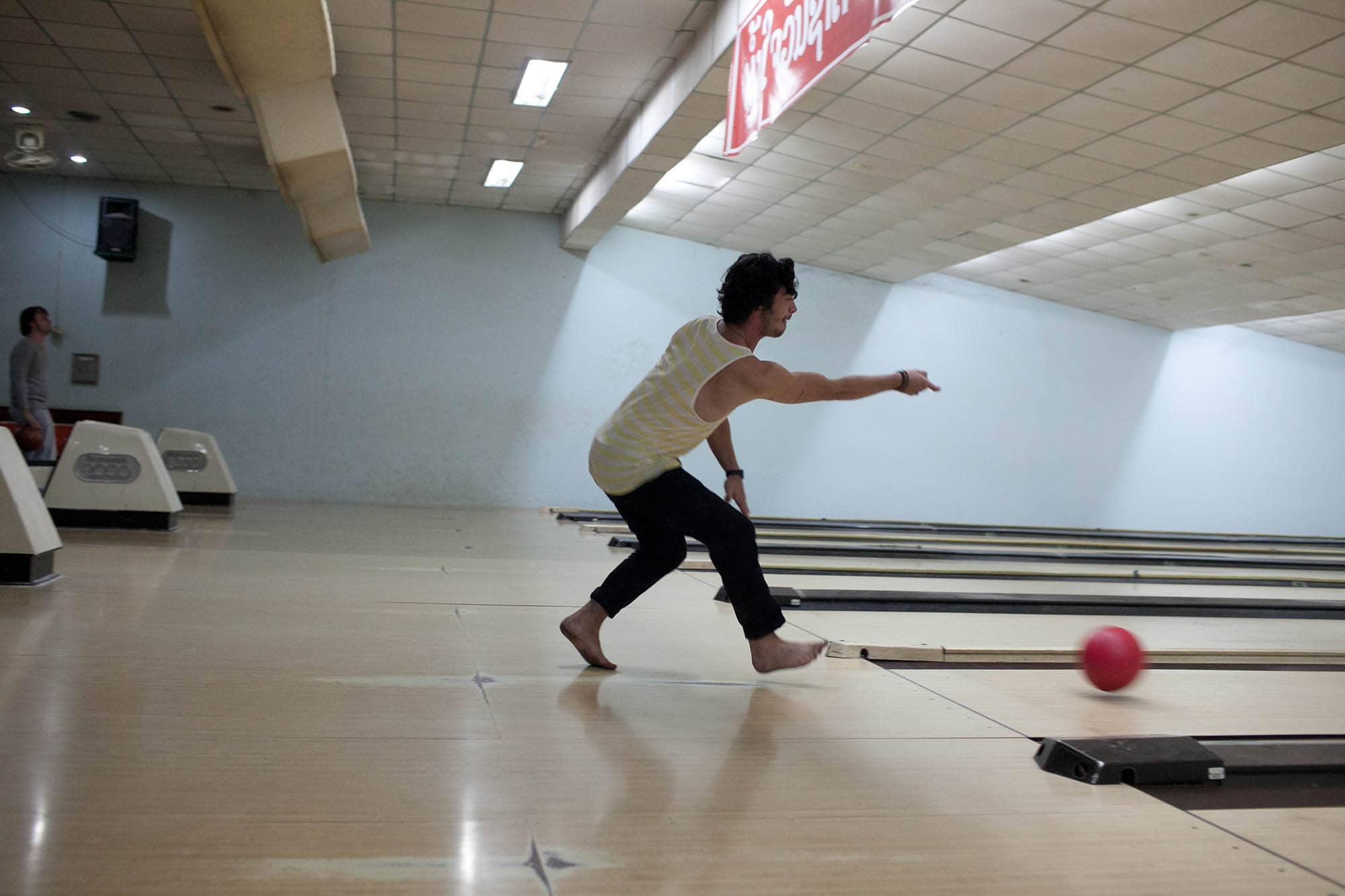 Bowling at Lao Bowling Center in Vientiane, Laos.