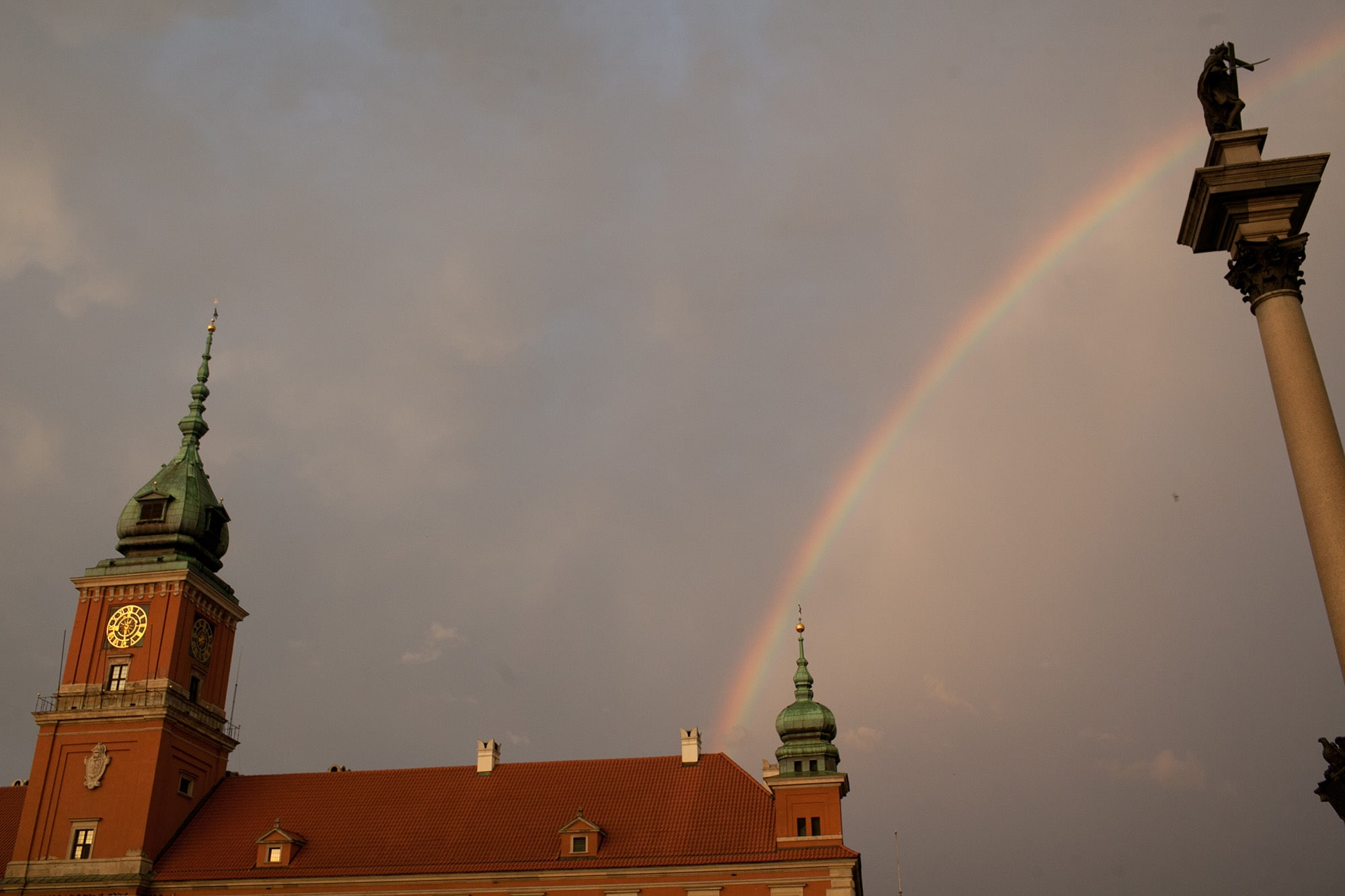 Rainbow in Castle Square in Warsaw, Poland