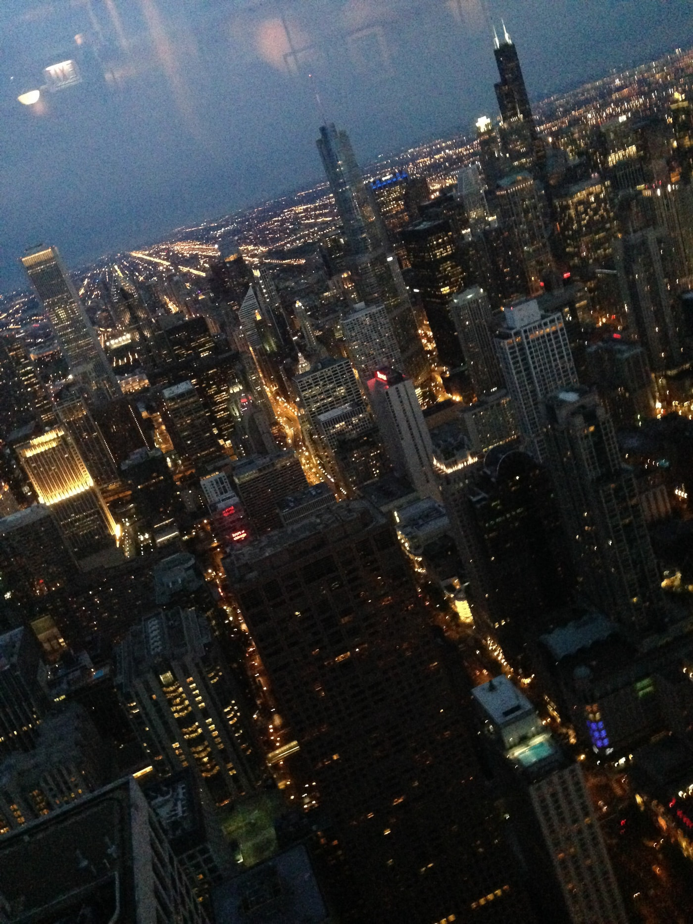 Chicago skyline from The Signature Lounge at the top of the John Hancock Center in Chicago, Illinois