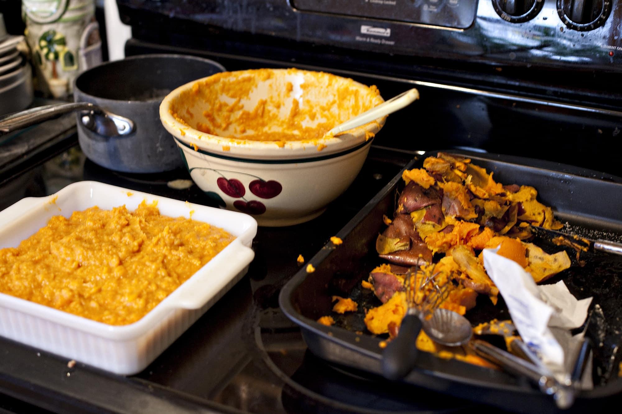 Cooking Thanksgiving Dinner - Making Sweet Potatoes