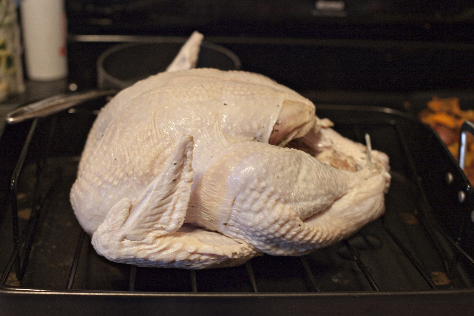Cooking Thanksgiving Dinner - The turkey is ready to be stuffed