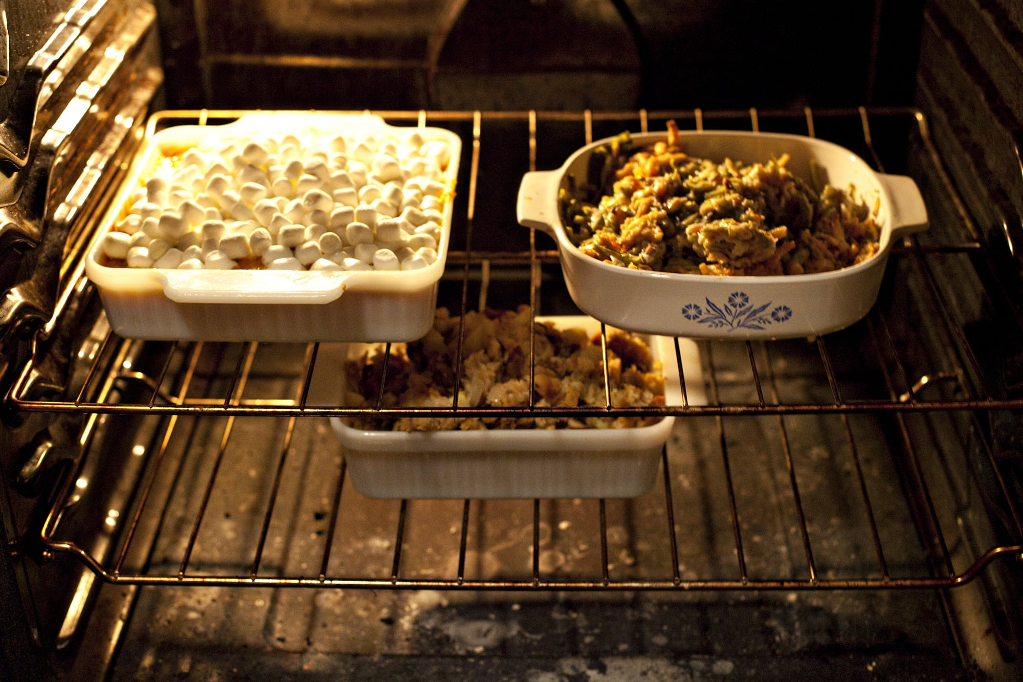 Cooking Thanksgiving Dinner - Side dishes in the oven