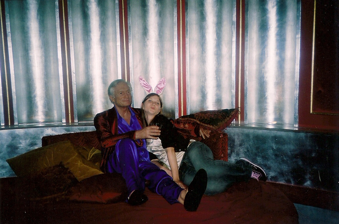Hugh Hefner and a Playboy Bunny at Madame Tussauds Wax Museum in Las Vegas