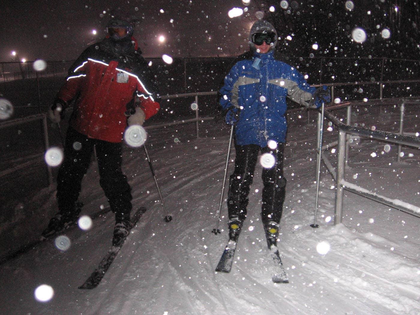 Joe and Brandon skiing on our Ski Trip in Petoskey, Michigan