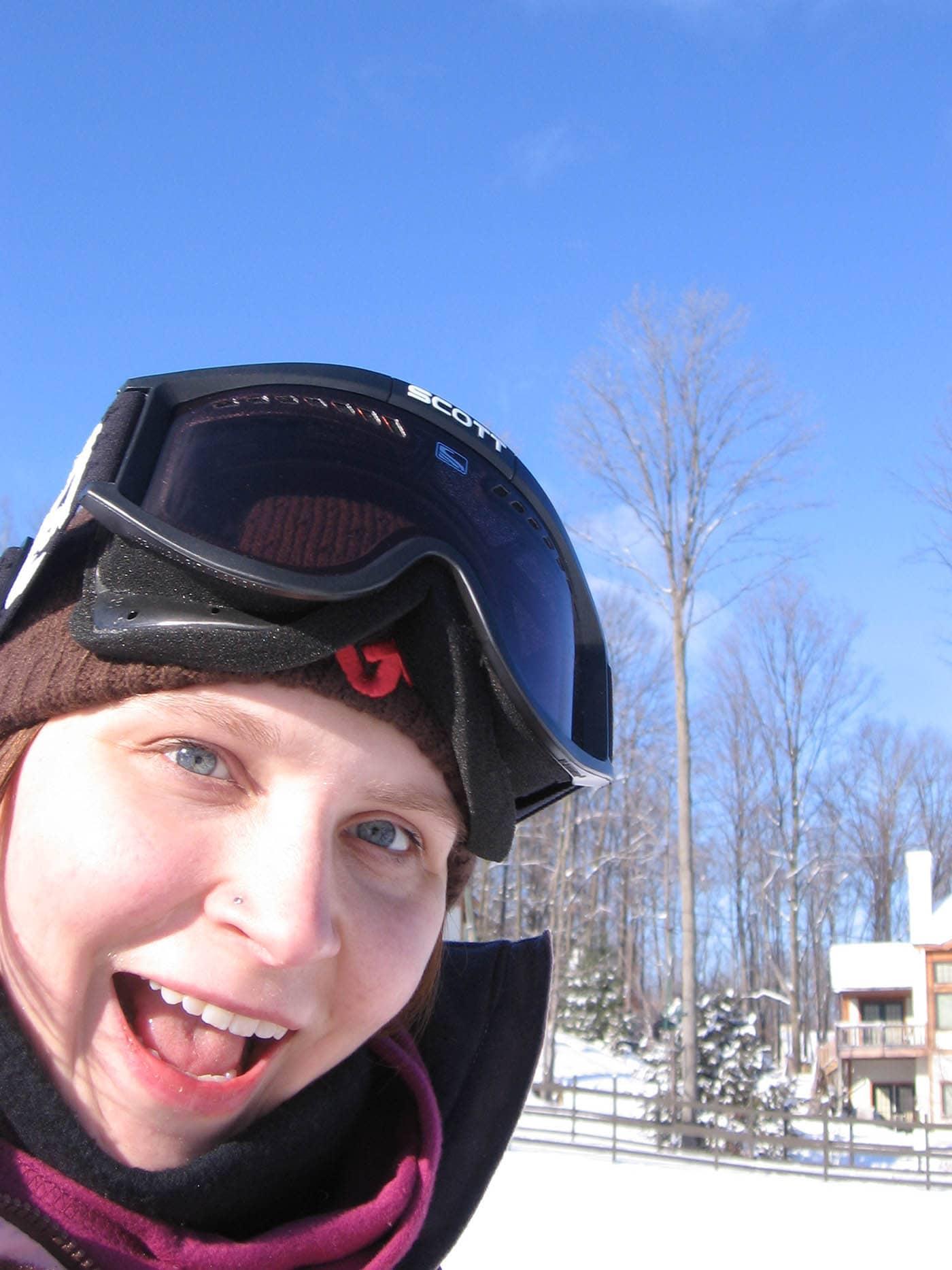 Selfie of me skiing on our Ski Trip in Petoskey, Michigan