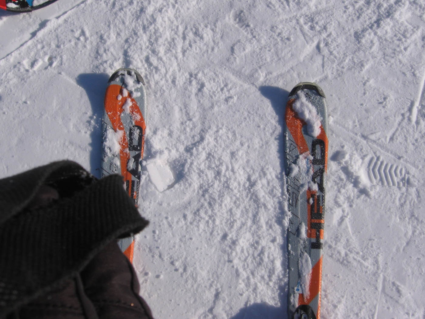 Picture of my skies to prove I skied on our Ski Trip in Petoskey, Michigan
