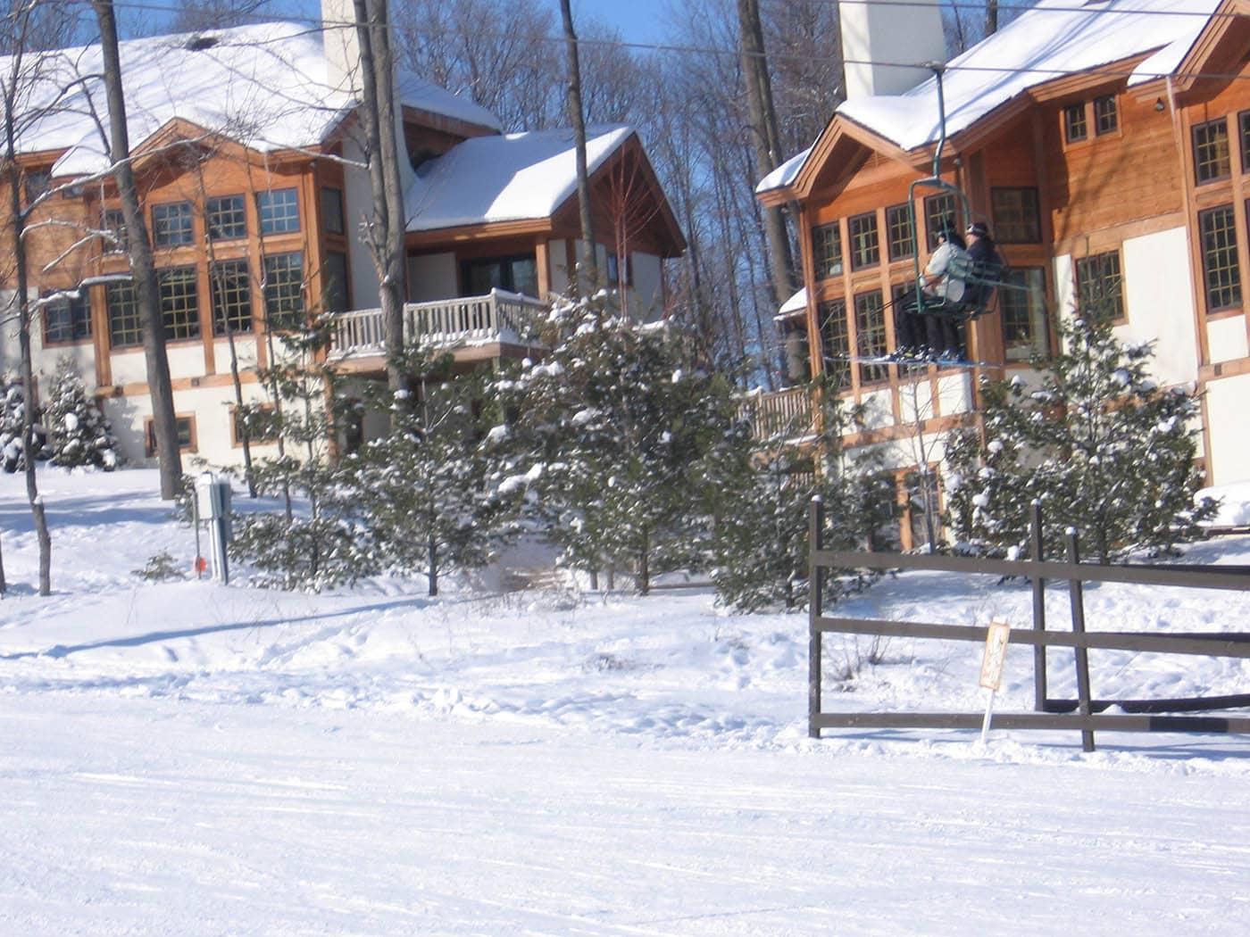 Matt and Matt on the ski lift on our Ski Trip in Petoskey, Michigan