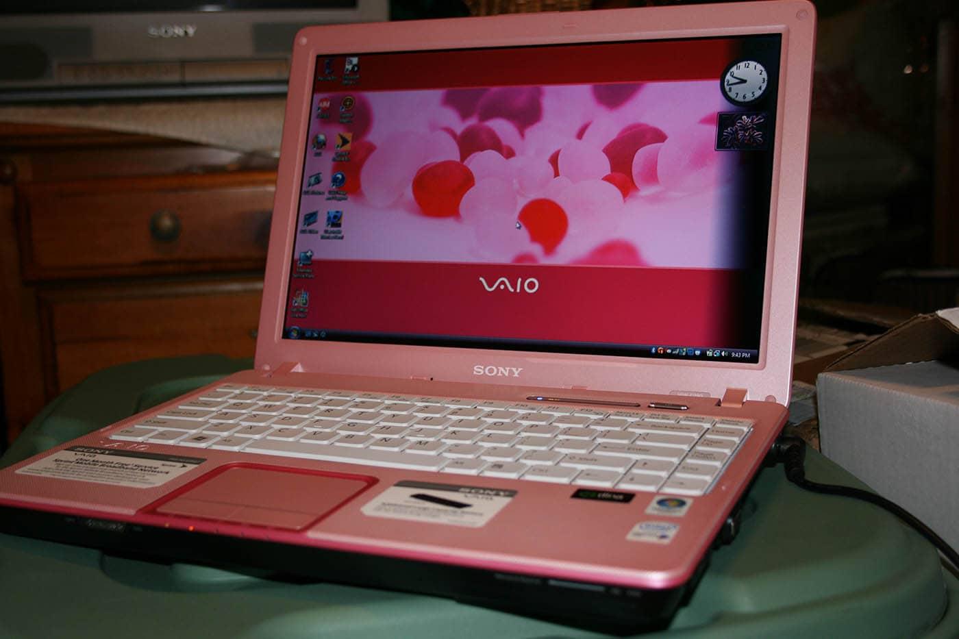 Pink Sony Vaio Laptop