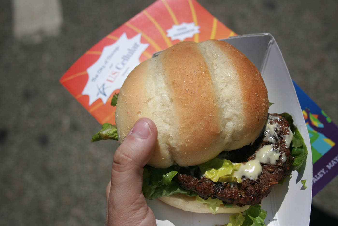Steak Burger with Blue Cheese and Mustard Sauce from Tutto Italiano at the Taste of Chicago