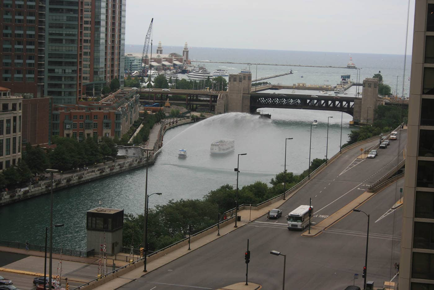 View of the Chicago River from the Downtown Chicago Hyatt Regency.