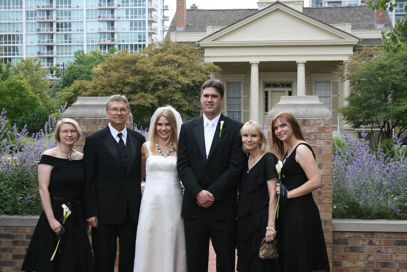 Family picture at Jen and Dale's Glessner House Wedding in Chicago, Illinois.