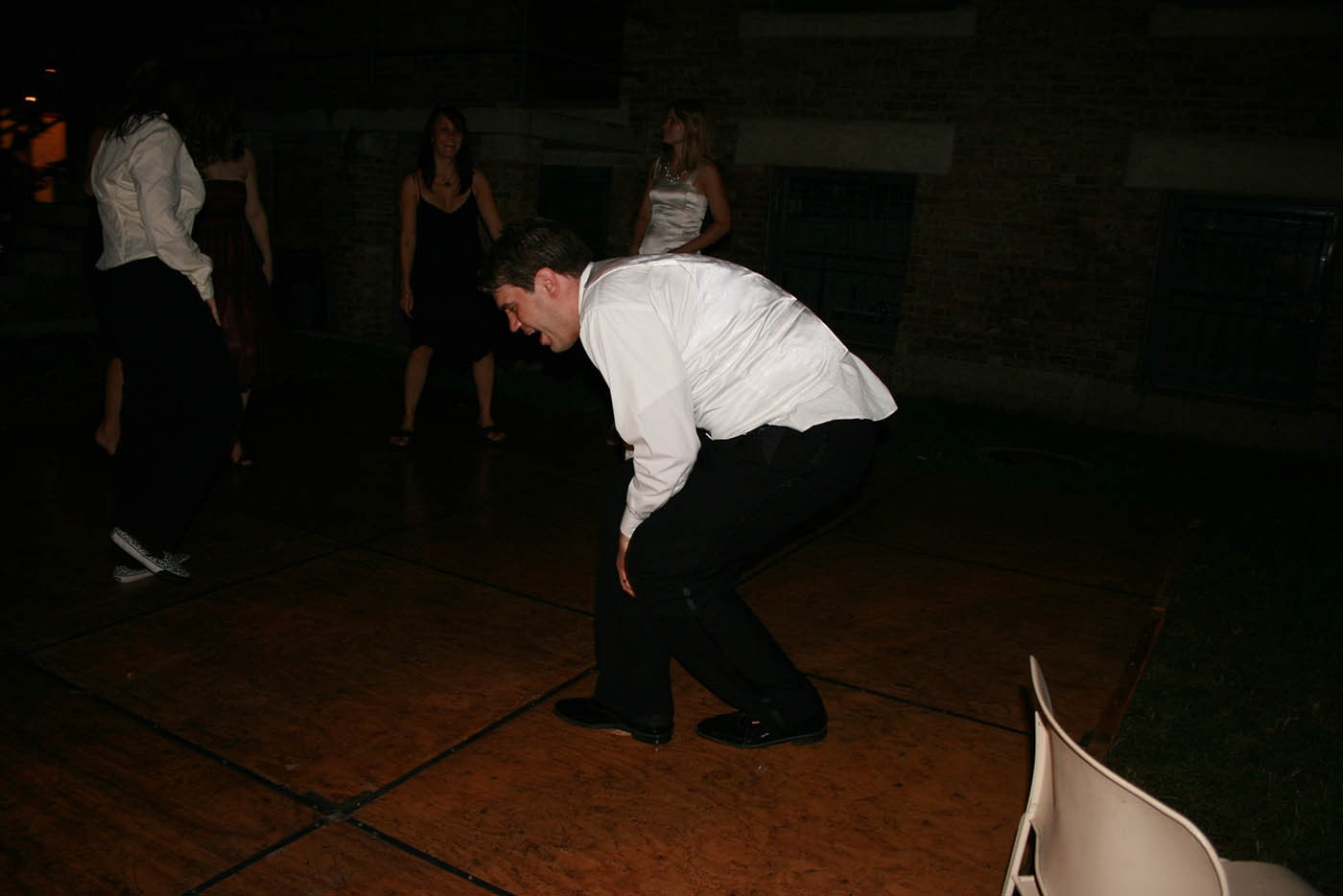 Dale breakdancing at Jen and Dale's Glessner House Wedding in Chicago, Illinois.