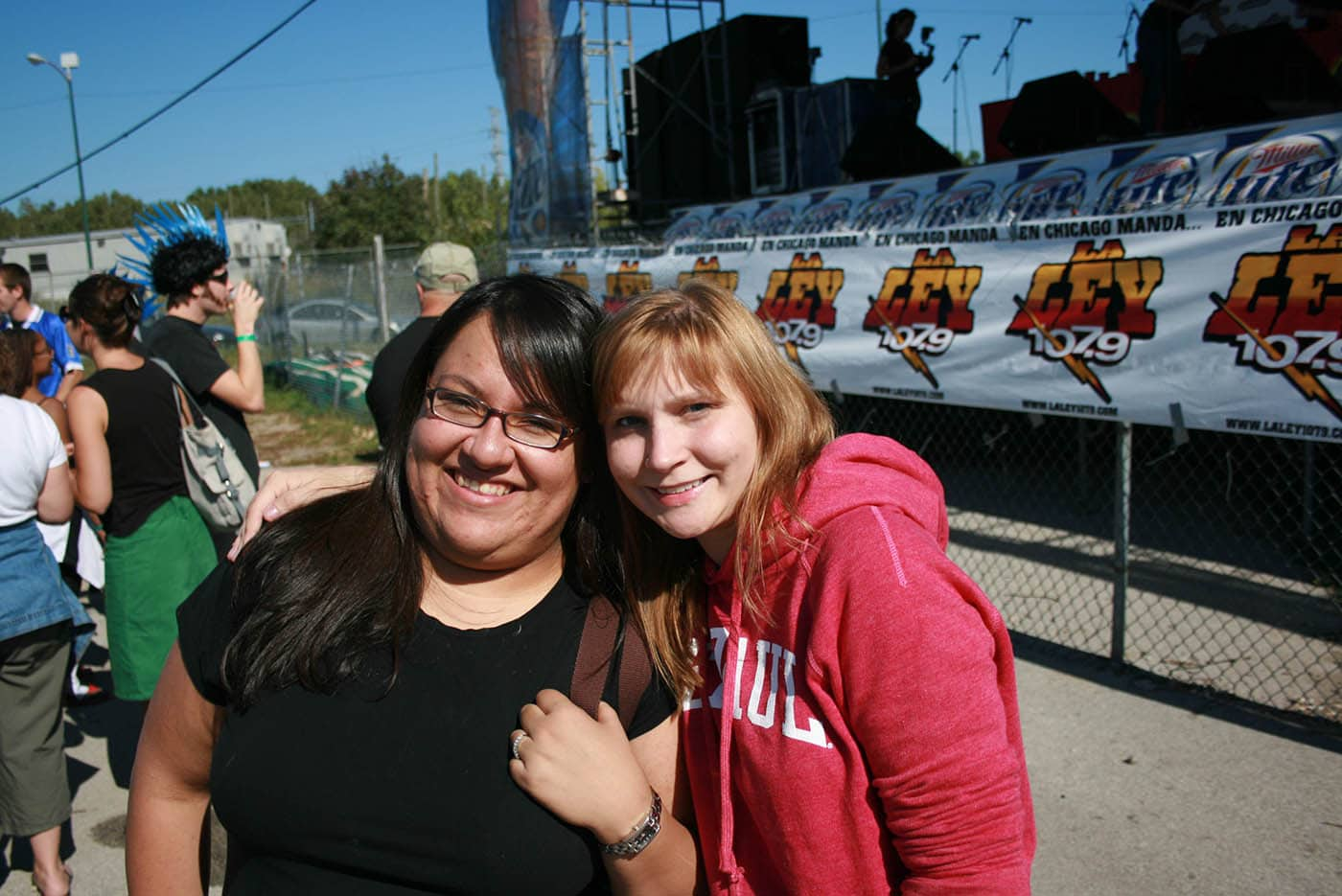 """Nadia and I at the La Costeña """"Feel the Heat"""" Jalapeño Eating Challenge - jalapeno eating contest in Chicago."""