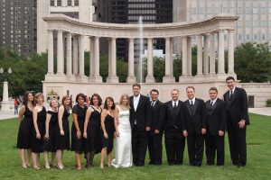 Wedding party at Millennium Park.
