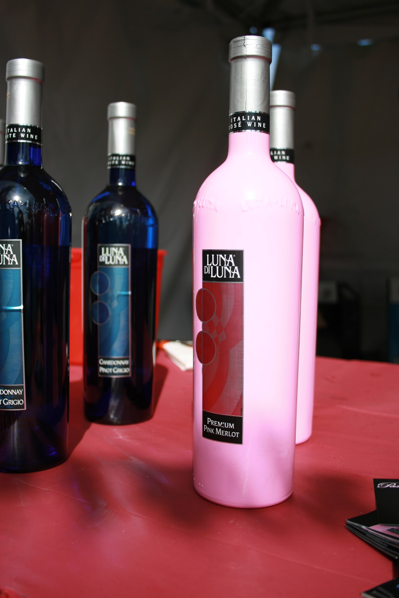 Pink merlot in a pink bottle at Windy City Wine Festival in Chicago, Illinois.