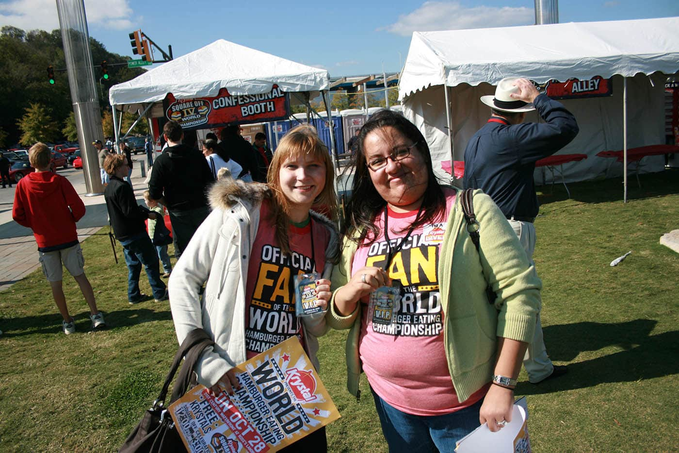 Me and Nadia at Krystal Square Off IV hamburger eating contest in Chattanooga, Tennessee.
