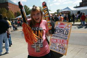 Me with my competitive eating swag. Krystal Square Off IV hamburger eating contest in Chattanooga, Tennessee.