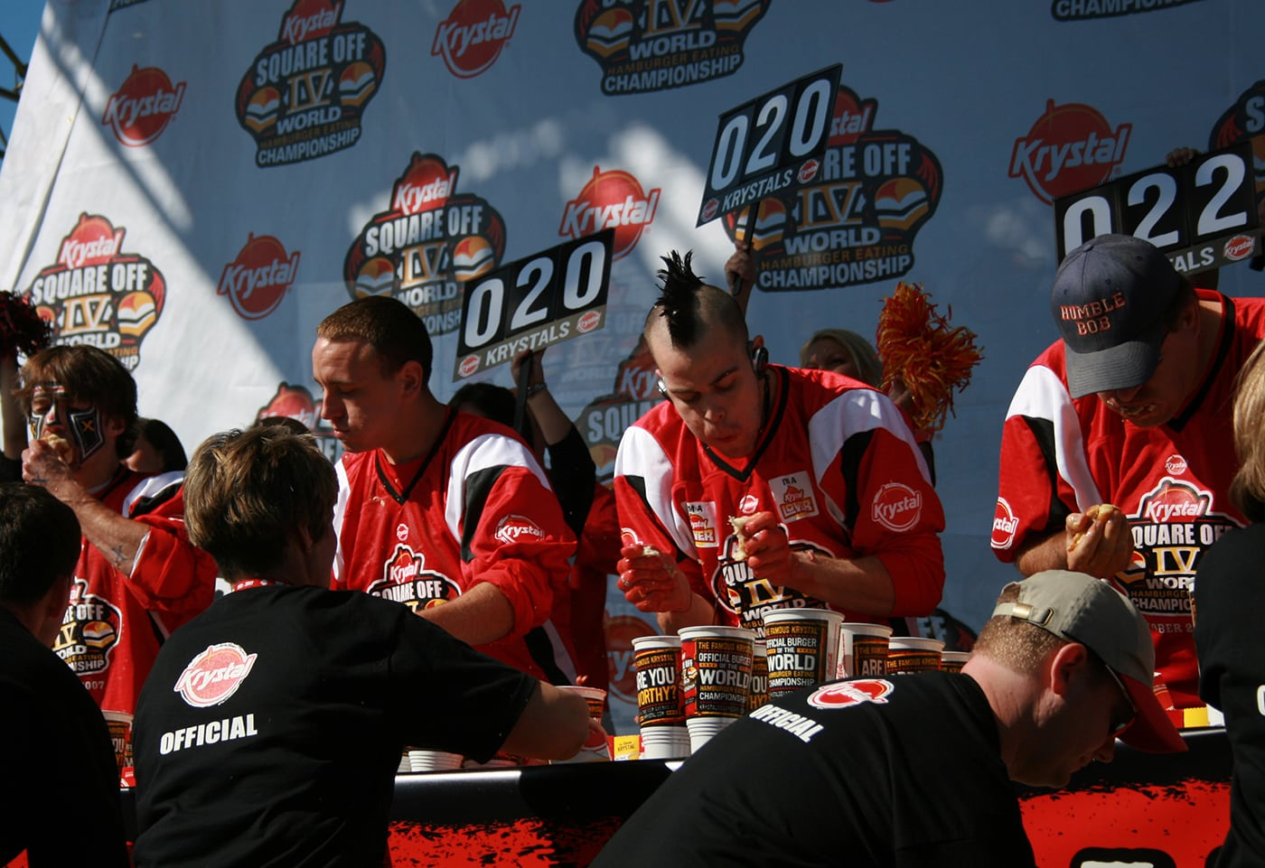 Krystal Square Off IV hamburger eating contest in Chattanooga, Tennessee.