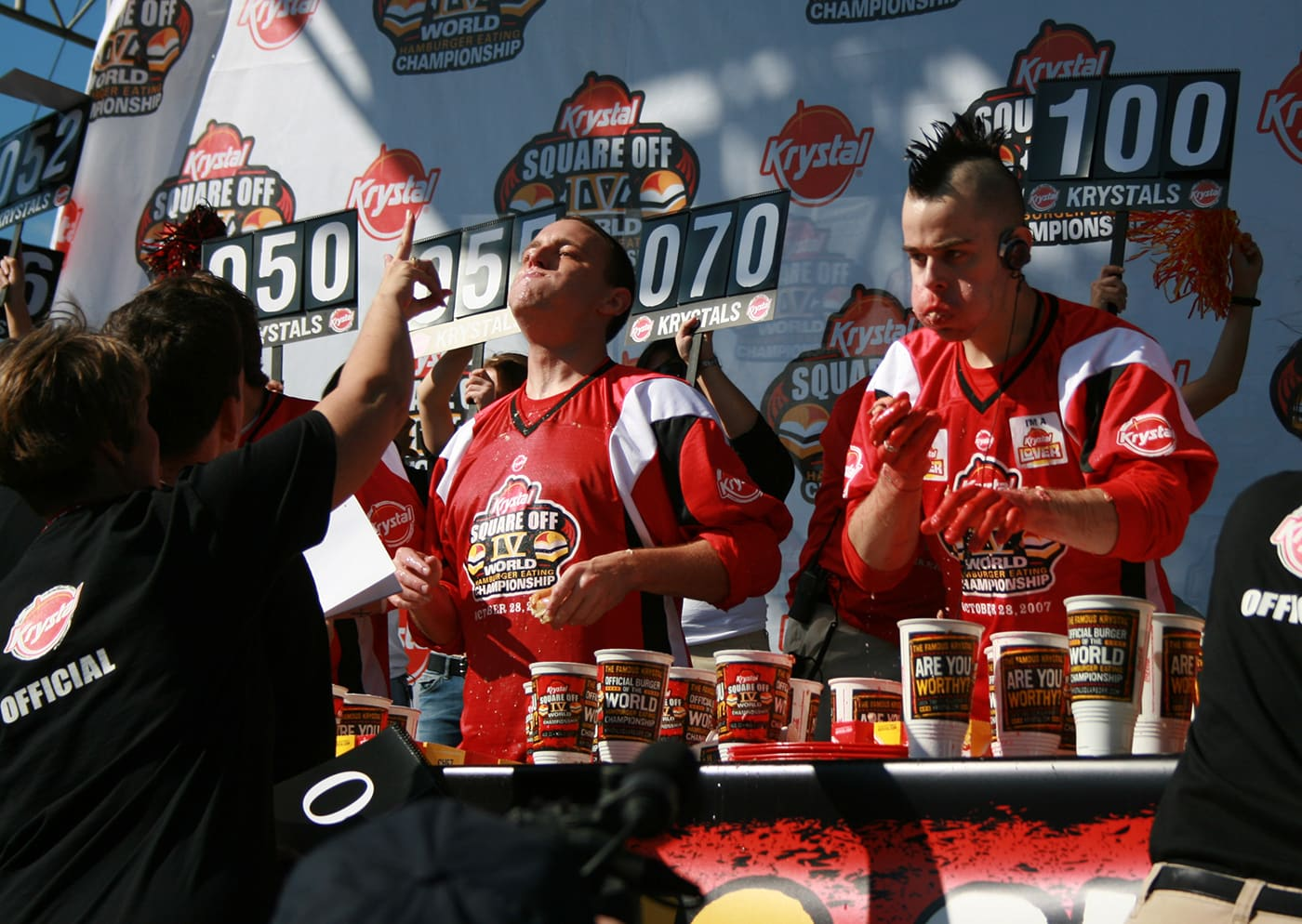 Joey Chestnut and Pat Bertoletti eat at Krystal Square Off IV hamburger eating contest in Chattanooga, Tennessee.
