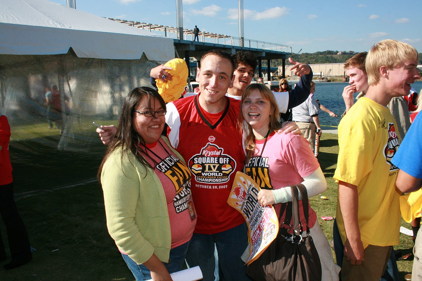 Me and Nadia meet Joey Chestnut at the Krystal Square Off IV hamburger eating contest in Chattanooga, Tennessee.